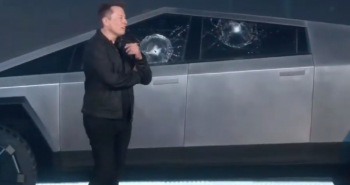 Tesla cybertruck ev smashed windows